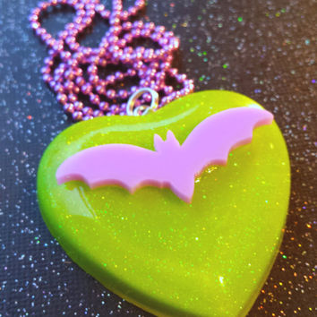 Pastel Bat Pendant / Bat Necklace / Green and Purple / Lime Green Pastel Purple Jewelry / Slime Green Jewelry / Villain Jewelry