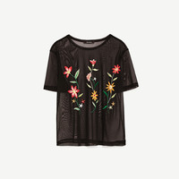 SEMI-SHEER EMBROIDERED T-SHIRT DETAILS