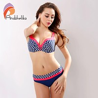 2017 New Swimsuit Bikini Sexy Polka Dot Large Cup Bar small Bottom Bathing Suit Push Up Swimwear LD516