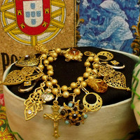 Portugal Viana heart filigree Locket bracelet charms Portuguese gold tone jewelry art