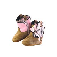 Old West Infant Poppets - Pink Camo Booties