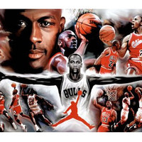 Hot Sale Wall Sticker of Jordan Wings Collage Vintage Sports Poster 50x76cm Unframe Free Shipping U1-733