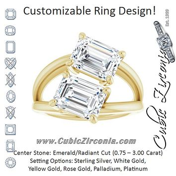 Cubic Zirconia Engagement Ring- The Melaine (Customizable Two Stone Double Radiant Cut Design with Split Bypass Band)