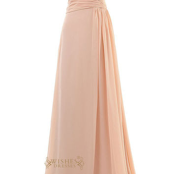 Elegant Ruched Bodice Floor Length Bridesmaid Dresses Am65