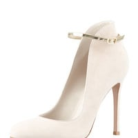Gianvito Rossi High-Back Suede Ankle-Strap Pump