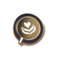 Latte Heart Enamel Lapel Pin