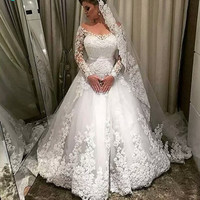 long sleeves wedding A line lace wedding dresses 2017 turkey Sexy V neck Cheap lace wedding gowns plus size bride dress 2017