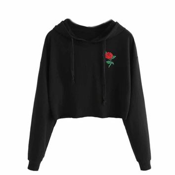 Cropped Pullover Hoodie with Embroidery