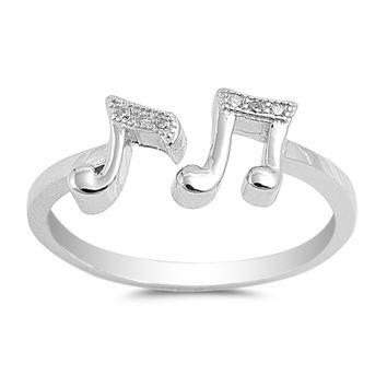 Sterling Silver CZ Simulated Diamond Musical Notes Ring 8MM
