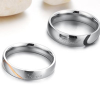 """Women's Puzzle Heart Tungsten Carbide """" Real Love """" Couples Promise Engagement Ring"""