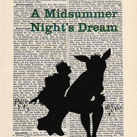A Midsummer Night's Dream by William Shakespeare Print on an antique page, book lover gift, book cover art, recycled book