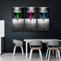 Martini Kitchen and Dining Room Wall Decor Canvas Set