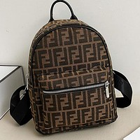 FENDI canvas embroidered letters ladies shopping backpack school bag Daypack