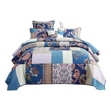 Tache Cotton Patchwork Paisley Floral Navy Blue Pastel Bohemian Night Flower Quilt (JHW-882)