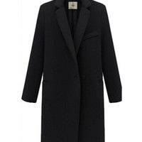 Long Sleeve Notched Collar Single Buttoned Coat