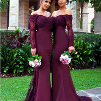 Romantic Long Sleeve Burgundy Bridesmaid Dresses Vestido Para Madrinha Sheer Lace Appliques Sweep Train Party Gown Hot Sale