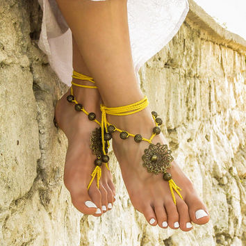 Gypsy barefoot sandals Boho footless sandles Yoga bare foot jewelry Beaded bottomless sandals Beach wedding soleless sandal Bohemian anklet