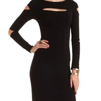 Bodycon Midi Dress with Cut-Outs by Charlotte Russe - Black