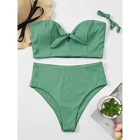 Rib Knot Bandeau High Waisted Bikini Swimsuit