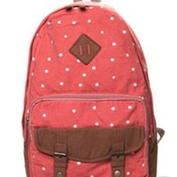 Sweet Cute White Tiny Dot Canvas Backpack-Watermelon Red from styleonline