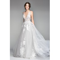 Willowby by Watters 50704 Galatea Floral Lace Plunging V Neckline A-Line Wedding Dress