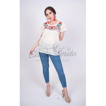 Mexican Tehuacan Embroidered Blouse Cream