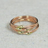 Unique Rose Gold and Solid 14k Gold Dew Drop Stacking Rings
