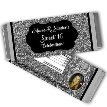 Silver Sweet 16 Candy Wrappers - Silver Black Party Favors - Photo Sweet 16 Favors - Silver Adult Birthday Party Favor - Silver Birthday