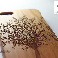 Natural wood iPhone 5 case, iphone 5s, Tree, Art, Gift, Engraving, Cherry Wood, Wooden Pattern, Real wood