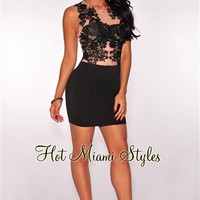 Black Embroidered Nude Mesh Dress