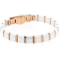 Edforce Stainless Steel Plated with Rose Gold and White Square Ceramic Unisex Bracelet with Clasp Lock