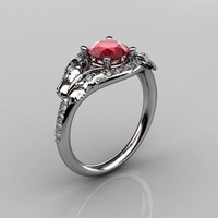 14KT White Gold Diamond Leaf and Vine Ruby Wedding Ring Engagement Ring NN117-14KWGDR Nature Inspired Jewelry