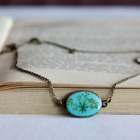 Tiny Blue Pendant, Real Flower Necklace, Flower Pendant, Botanical Necklace, Pressed Flower Resin, Resin Jewelry, Red Necklace
