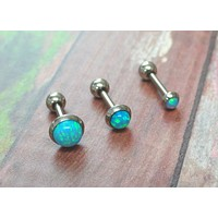 Turquoise Blue Fire Opal Stud Cartilage Earring Tragus Helix Piercing You Choose Stone Size