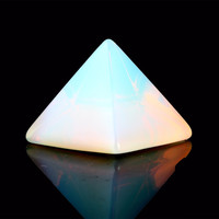 Natural Stone Carved Opalite Opal Pyramid Symbol Rose quartz Point Chakra Healing Reiki Crystal Free pouch