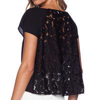 Black Short Sleeve T-shirt with Back Lace