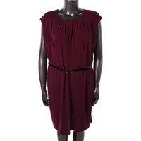 Charter Club Womens Plus Pleated Cap Sleeves Wear to Work Dress