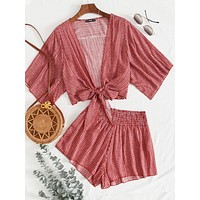 Striped Tie Front Top & Shirred Waist Shorts Set