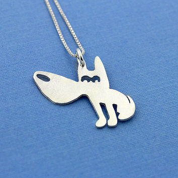 Funny Dog sterling silver necklace Shiny texture Finish pendant comes with italian box style chain choose your length 16 18 20 inch