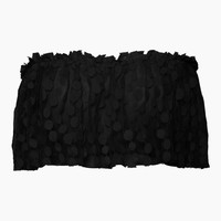 Linda Spot Net Ruffle Tube Top - Black