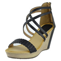 Womens Platform Sandals Weaved Strappy High Wedge Shoes Black SZ