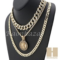"MENS 14K GOLD PT JESUS FACE MIAMI CUBAN 16""~30"" CHOKER TENNIS CHAIN S32"