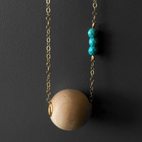 Essential Oil Aromatherapy Diffuser Wood and Turquoise Necklace