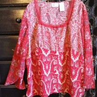 RED FLORAL PLUS SIZE FADED GLORY PEASANT BOHO BLOUSE TOP 22W 24W 2X 3X