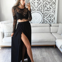 Long Sleeve Black Two Piece Prom Dresses Evening Dresses