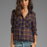 DV by Dolce Vita Bobbie-Lee Plaid Chiffon Top in Blue Multi from REVOLVEclothing.com
