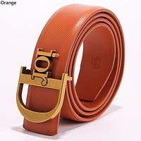 Dior Tide brand simple retro men and women smooth buckle belt Orange