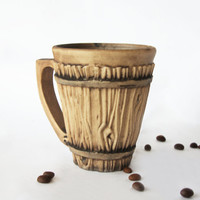 Ceramic coffee mug Redware coffee mug Handmade tea mug Art pottery Pottery cup Wooden cup Clay cup Terracotta mug Stoneware cup Brown cup