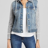 Two by VINCE CAMUTO French Terry Hooded Denim Jacket
