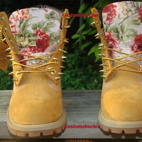 Custom Spiked Timberland Light Pink Floral Print
